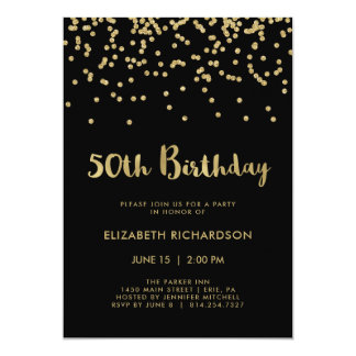Faux Gold Confetti on Black | 50th Birthday Party Card