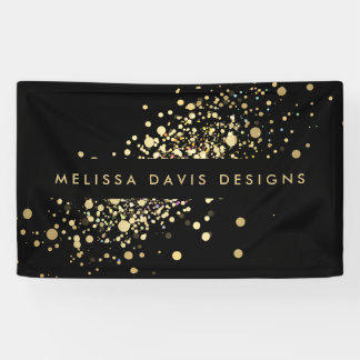 Faux Gold Confetti on Black Banner