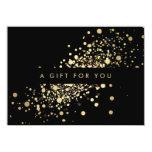 """Faux Gold Confetti on Black Gift Certificate 4.5"""" X 6.25"""" Invitation Card"""