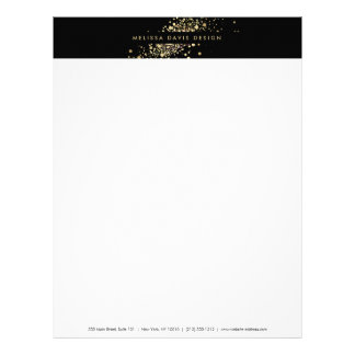 Faux Gold Confetti on Black Modern Letterhead