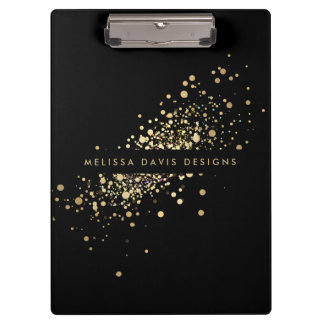Faux Gold Confetti on Black Modern Personalized Clipboard