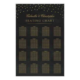 Faux Gold Confetti Wedding Seating Chart 16 Table