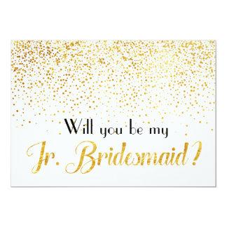 "Faux Gold Confetti Will you be My Jr. Bridesmaid 5"" X 7"" Invitation Card"