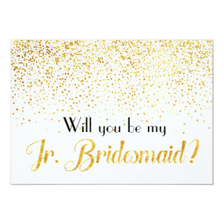 Faux Gold Confetti Will you be My Jr. Bridesmaid Card