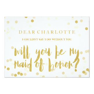Faux Gold Confetti Will You Be My Maid of Honour Card