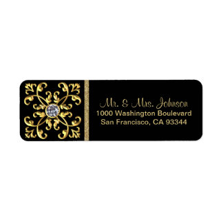 Faux Gold Diamond Black Envelope Return Address Return Address Label
