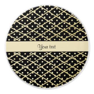 Faux Gold Diamonds & Polka Dots Ceramic Knob