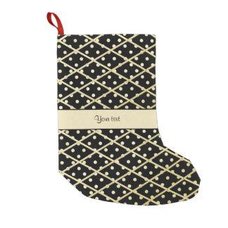 Faux Gold Diamonds & Polka Dots Small Christmas Stocking