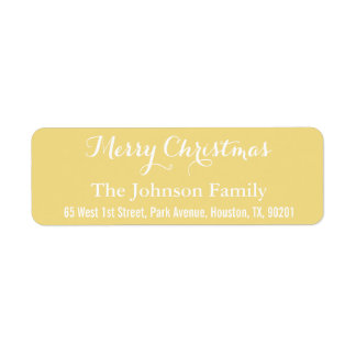 Faux Gold Elegant Merry Christmas Return Address