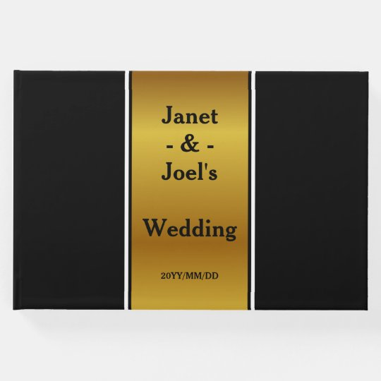 Faux Gold Elegant Wedding Guestbook