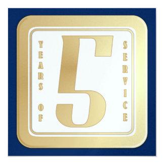 Faux gold employee 5 years service award card