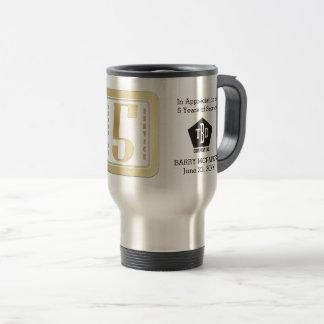 Faux gold employee 5 years service award travel mug