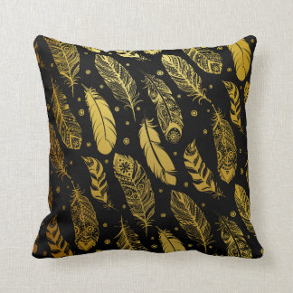 Faux Gold Feather Tribal Pattern Pillow