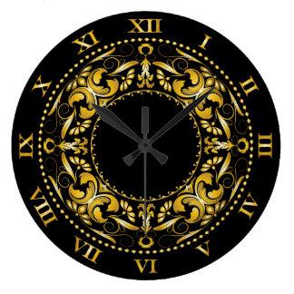 Faux Gold Filigree & Roman Numerals Large Clock
