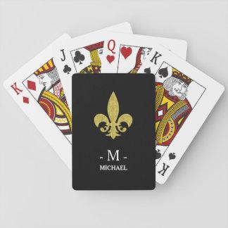 Faux Gold Fleur de Lis Monogram on Black Playing Cards