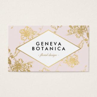 Faux Gold Floral Design Modern Pink Business Card