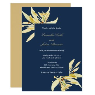 Faux gold floral - Navy blue Wedding Invitation