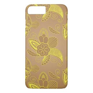 Faux Gold Floral Paisley on brown | Indian motif iPhone 7 Plus Case