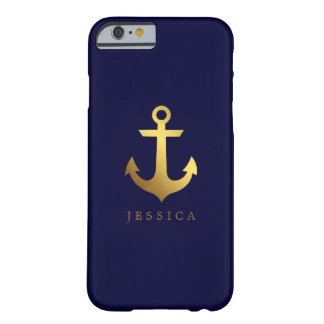 Faux Gold Foil Anchor Personalized Barely There iPhone 6 Case