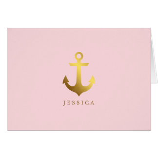 Faux Gold Foil Anchor Personalized Card