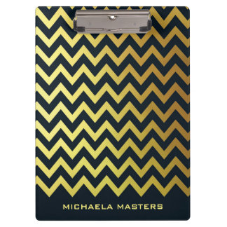 Faux Gold Foil and Black Chevron Pattern Clipboard