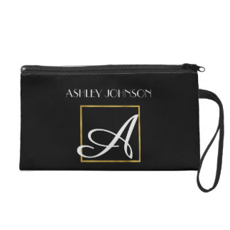 Faux Gold Foil and Black Monogrammed Wristlet Purses