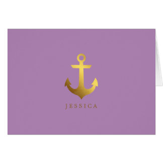 Faux Gold Foil and Lavender Anchor Card
