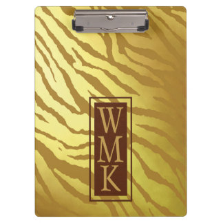 Faux Gold Foil and Light Brown Tiger Print Clipboard