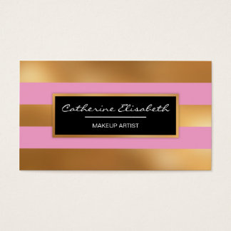 Faux Gold Foil and Pink Stripes, Makeup Artist Business Card