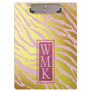 Faux Gold Foil and Pink Tiger Print Clipboards