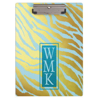 Faux Gold Foil and Teal Blue Tiger Print Clipboard