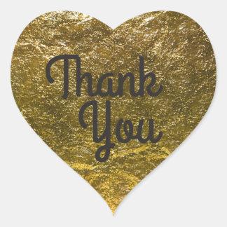Faux Gold Foil Background | Elegant Thank You Heart Sticker