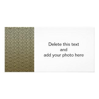 Faux Gold Foil Black Circle Fan Pattern Photo Card Template