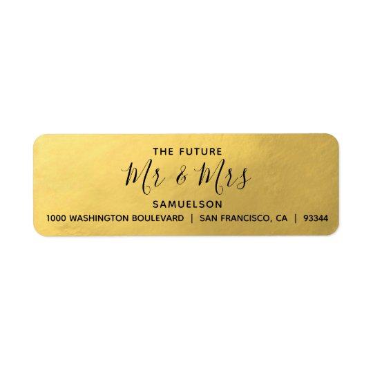 Faux Gold Foil Black Future Mr & Mrs Wedding