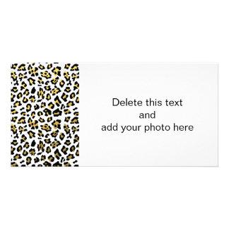 Faux Gold Foil Black Leopard Print Pattern Personalized Photo Card