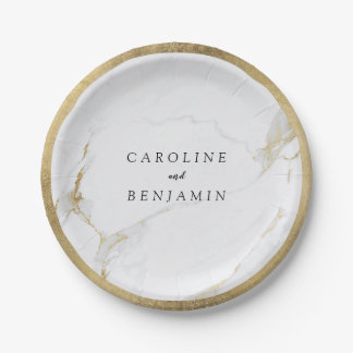 Faux gold foil border marble luxury modern wedding paper plate