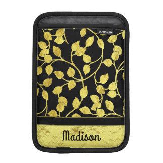 Faux Gold Foil Botanical Leaves, Vines, on Black iPad Mini Sleeve