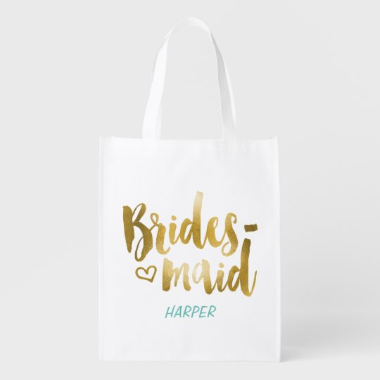 Faux Gold Foil Bridesmaid Fabric Gift Bag Market Tote