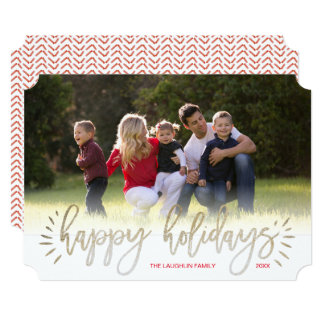 Faux Gold Foil Burst Happy Holiday Photo Card