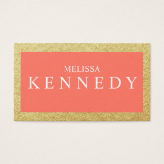 Faux Gold Foil Business Cards Coral White Font