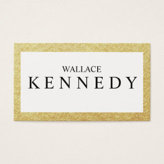 Faux Gold Foil Business Cards Last Name Emphasis