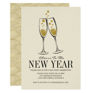 Faux Gold Foil Cheers New Year's Eve Party Card