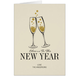 Faux Gold Foil Cheers New Year's Greeting Card