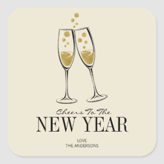 Faux Gold Foil Cheers New Year's Sticker