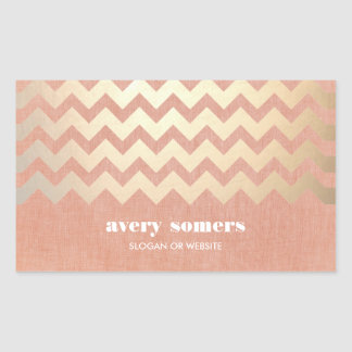Faux Gold Foil Chevron and Peach Linen Look Hip Sticker