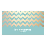 FAUX Gold Foil Chevron Pattern and Turquoise Blue Pack Of Standard Business Cards
