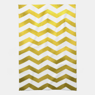 Faux Gold Foil Chevron Pattern White Metallic Kitchen Towel