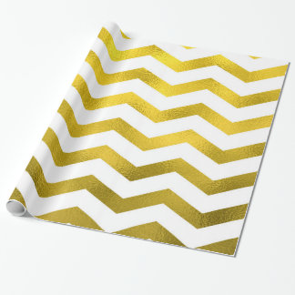 Faux Gold Foil Chevron Pattern White Metallic Wrapping Paper