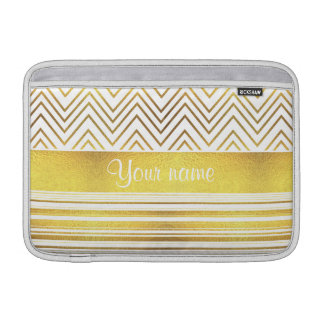 Faux Gold Foil Chevrons and Stripes MacBook Sleeve