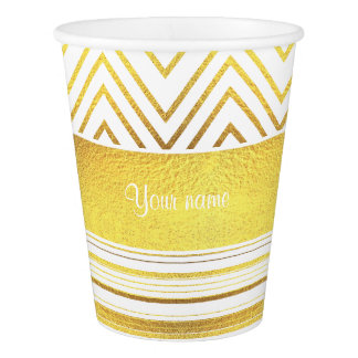 Faux Gold Foil Chevrons and Stripes Paper Cup